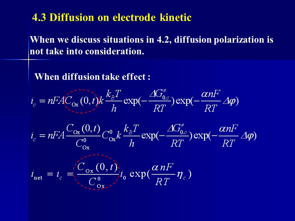4.3 Diffusion on electrode kinetic