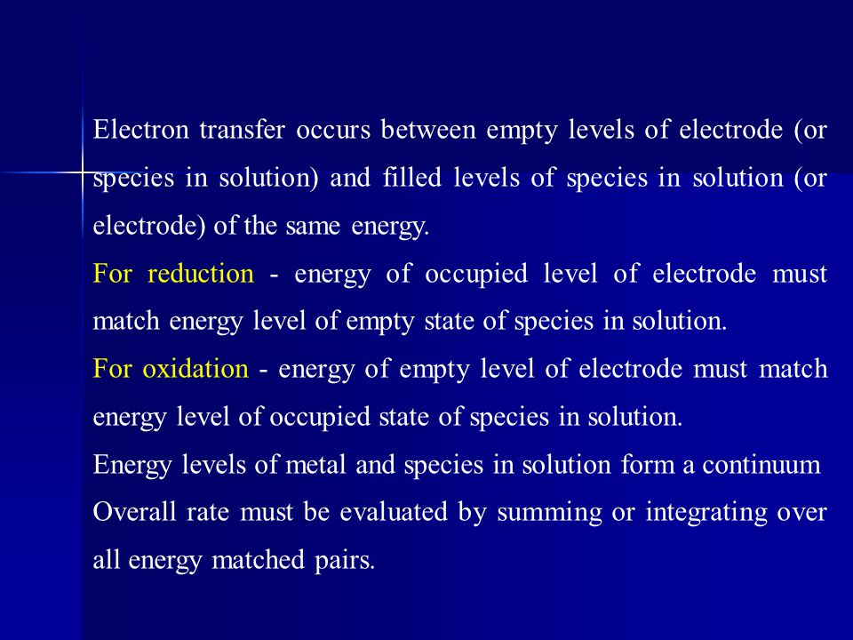 Electron transfer occurs between empty levels of electrode (or species in solution) and filled levels of species in solution (or electrode) of the same energy.