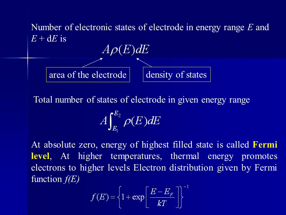 Number of electronic states of electrode in energy range E and E + dE is