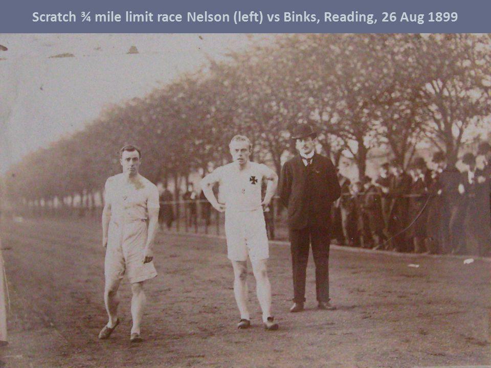 Scratch ¾ mile limit race Nelson (left) vs Binks, Reading, 26 Aug 1899