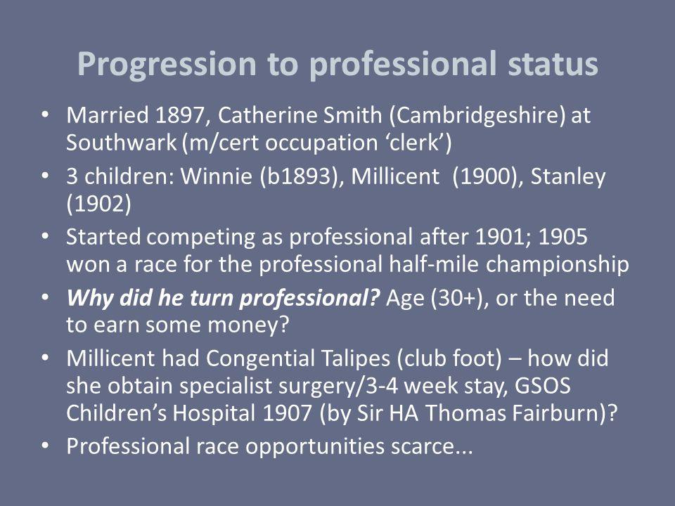 Progression to professional status