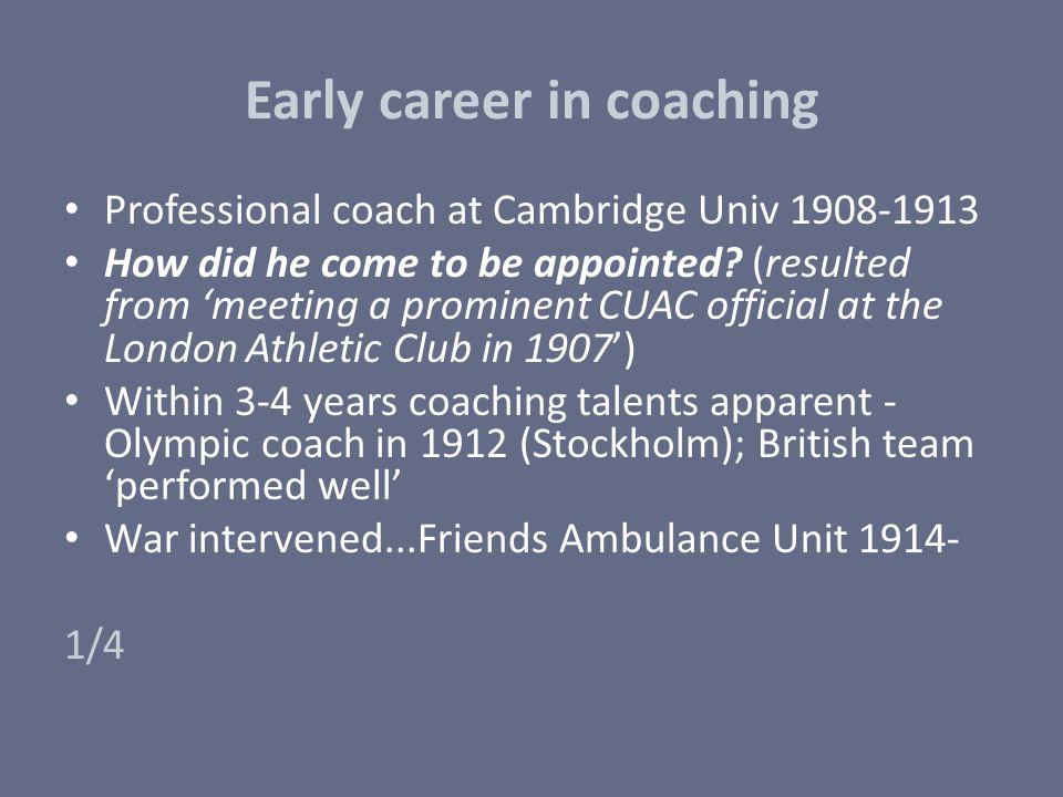 Early career in coaching