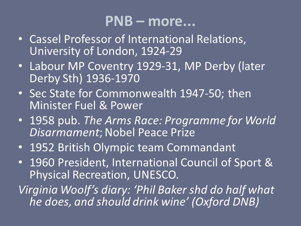 PNB – more... Cassel Professor of International Relations, University of London, 1924-29.