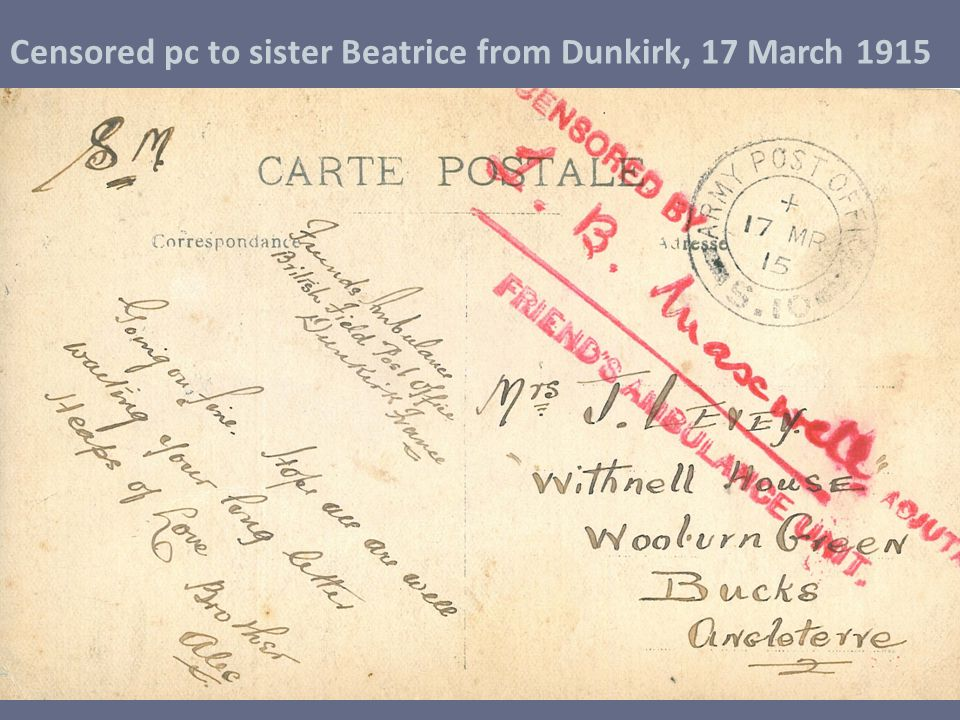 Censored pc to sister Beatrice from Dunkirk, 17 March 1915