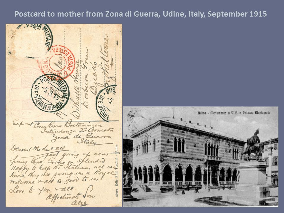 Postcard to mother from Zona di Guerra, Udine, Italy, September 1915