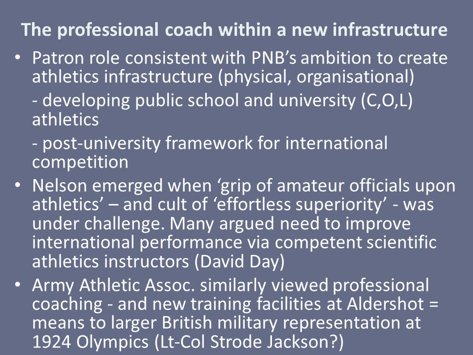 The professional coach within a new infrastructure