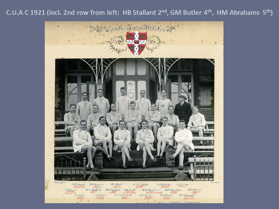 C.U.A C 1921 (incl. 2nd row from left: HB Stallard 2nd, GM Butler 4th, HM Abrahams 5th)