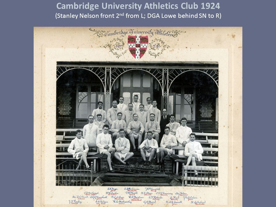 Cambridge University Athletics Club 1924 (Stanley Nelson front 2nd from L; DGA Lowe behind SN to R)