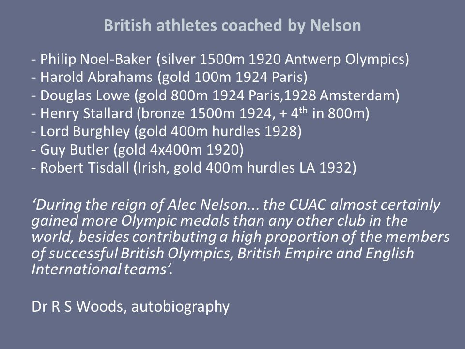 British athletes coached by Nelson