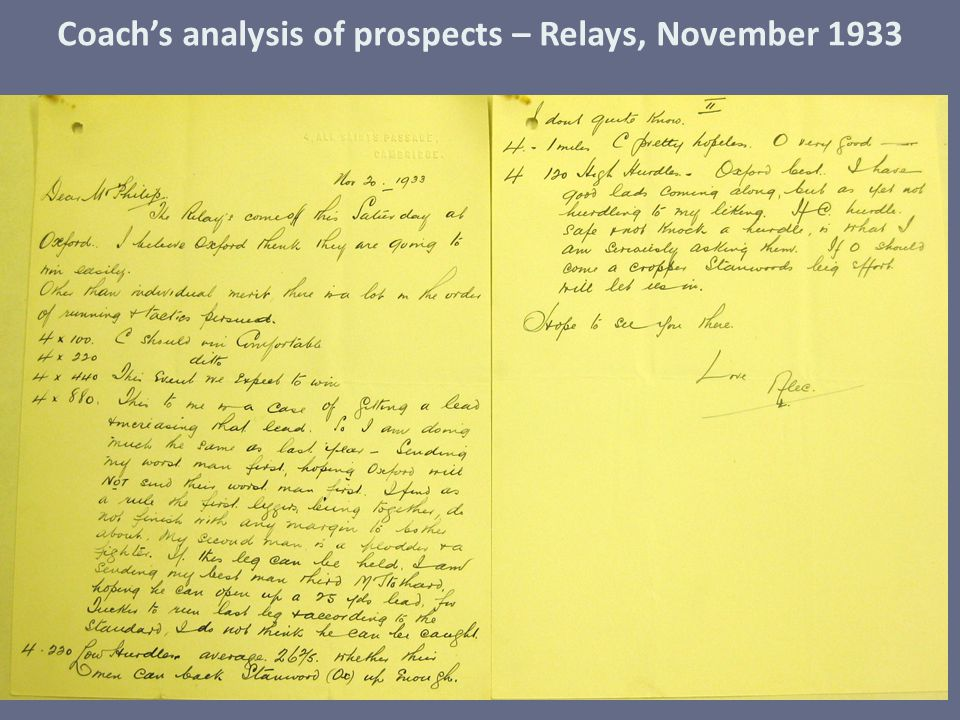 Coach's analysis of prospects – Relays, November 1933
