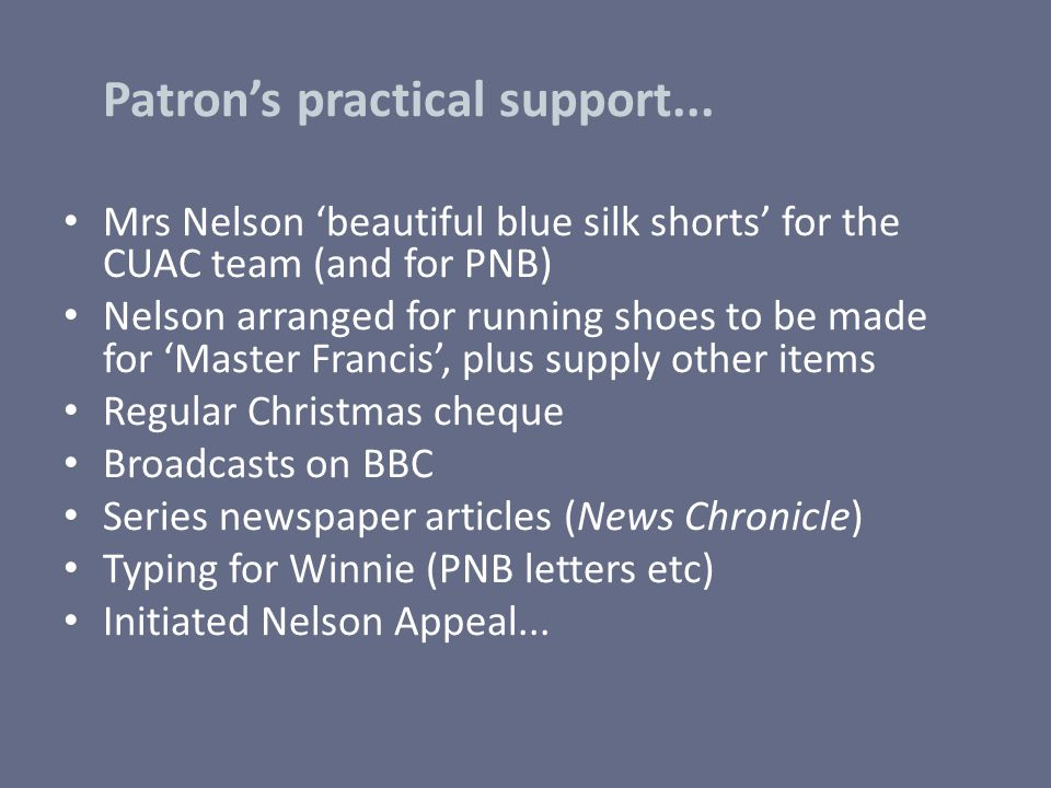 Patron's practical support...