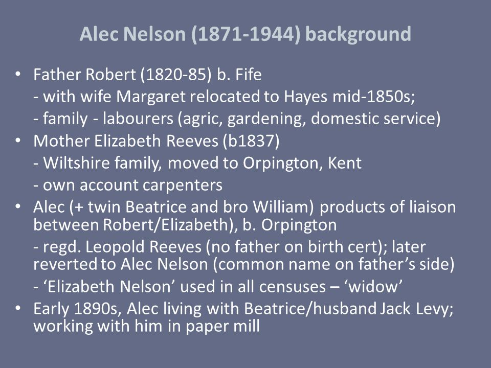 Alec Nelson (1871-1944) background