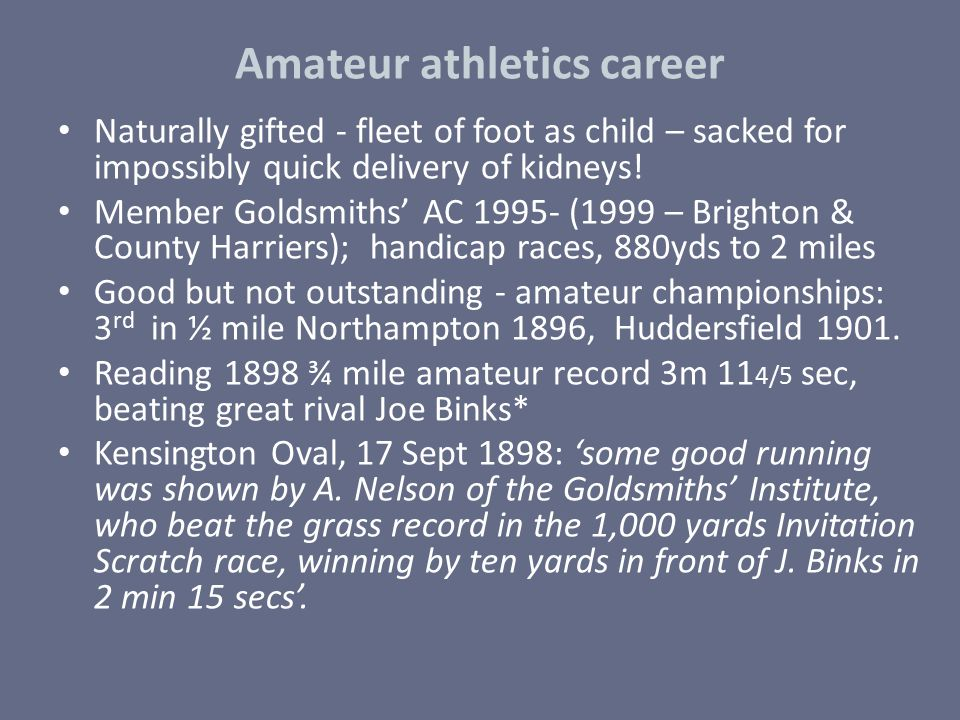 Amateur athletics career
