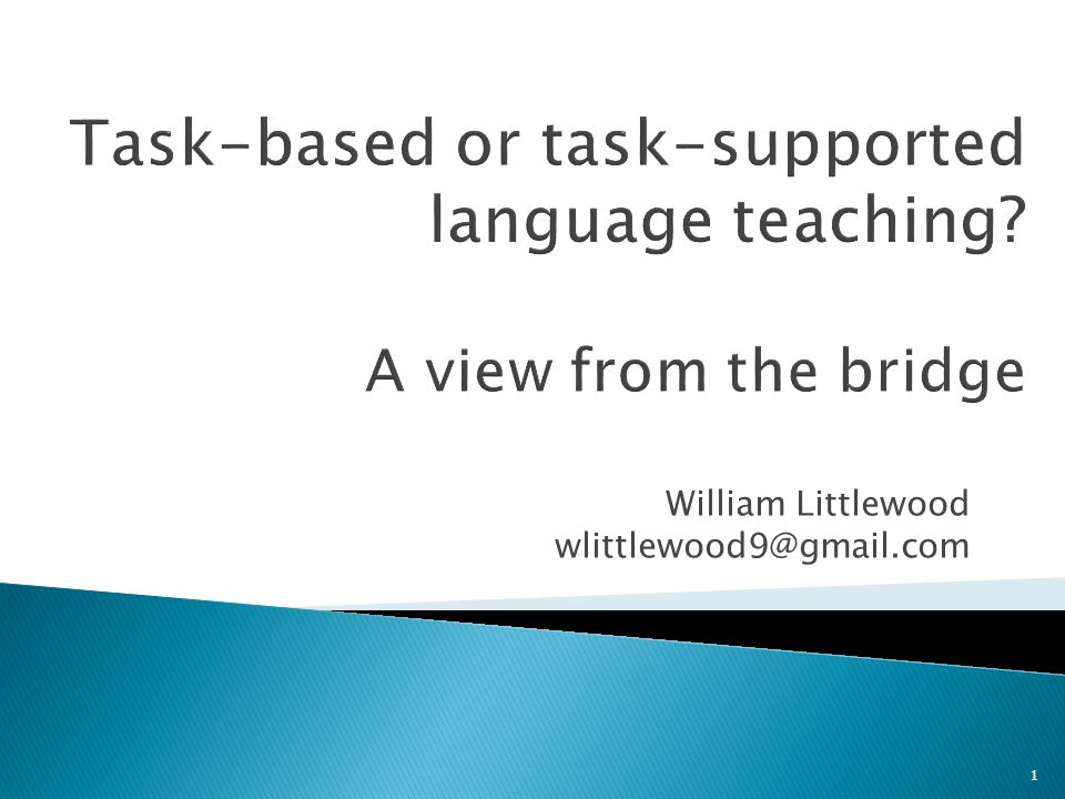 Task-based or task-supported language teaching A view from the bridge