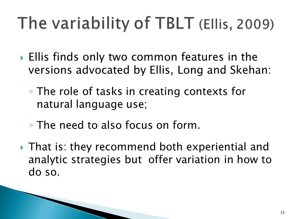 The variability of TBLT (Ellis, 2009)
