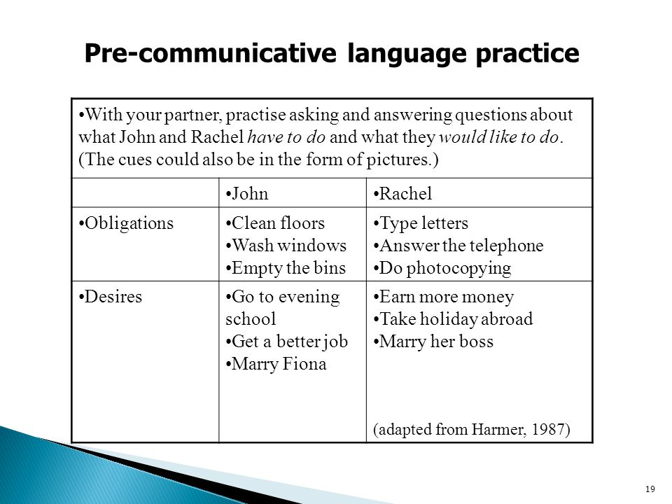 Pre-communicative language practice
