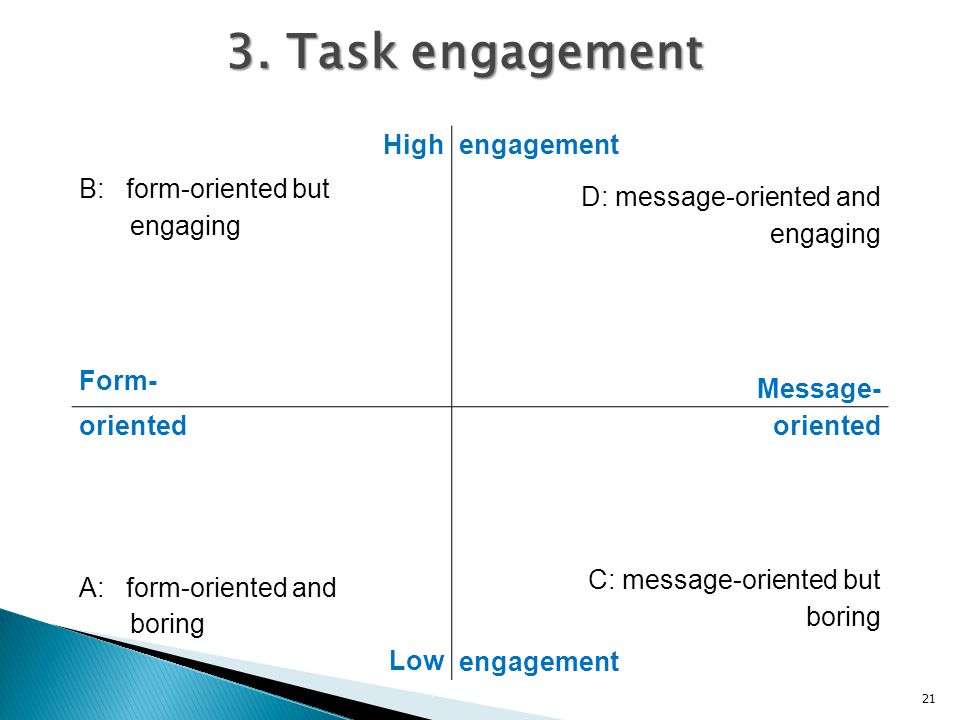 3. Task engagement High B: form-oriented but engaging Form- engagement