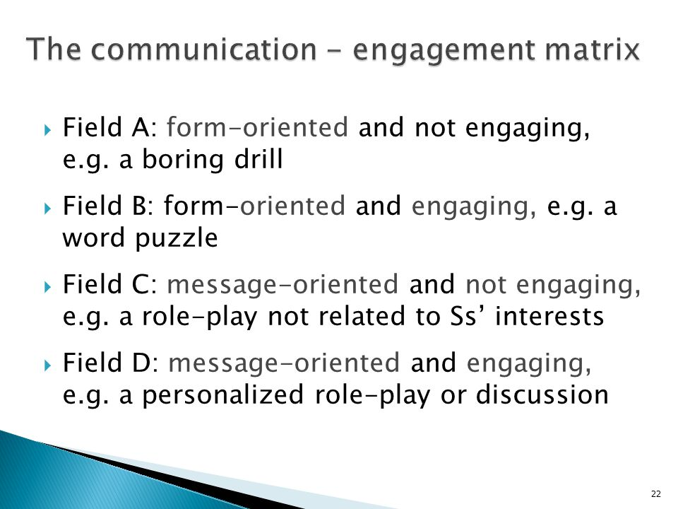 The communication - engagement matrix