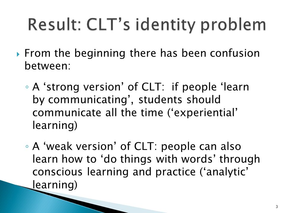 Result: CLT's identity problem