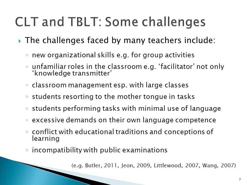 CLT and TBLT: Some challenges