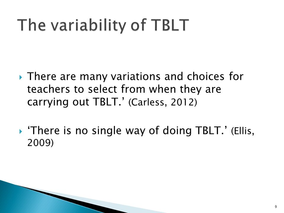 The variability of TBLT
