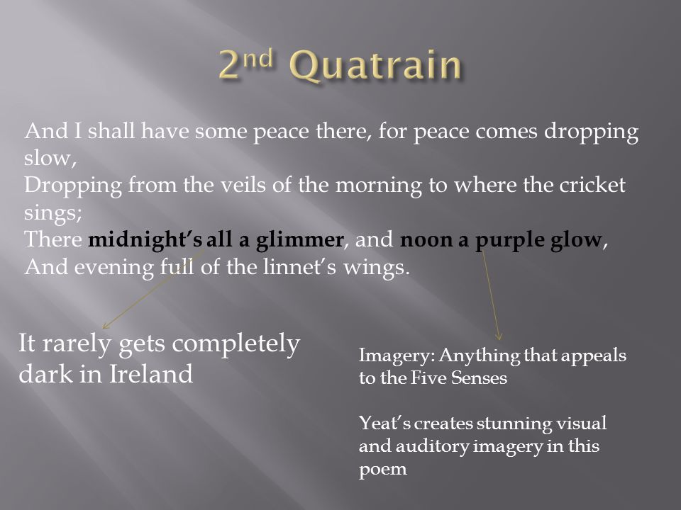 2nd Quatrain It rarely gets completely dark in Ireland