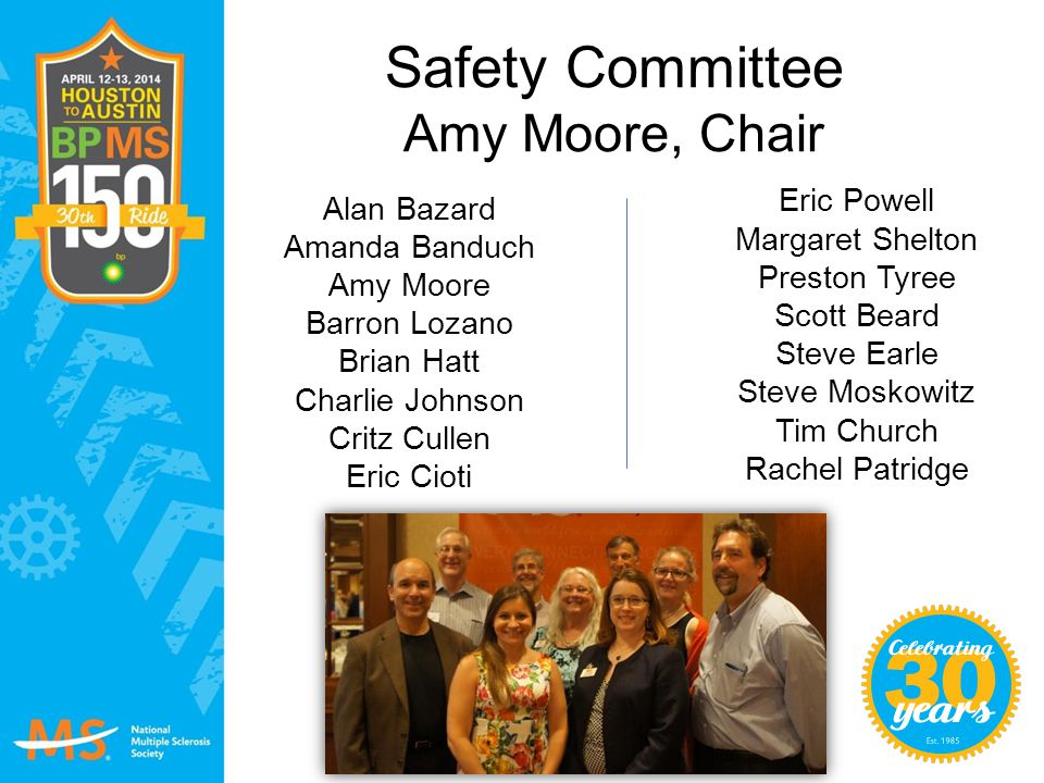Safety Committee Amy Moore, Chair
