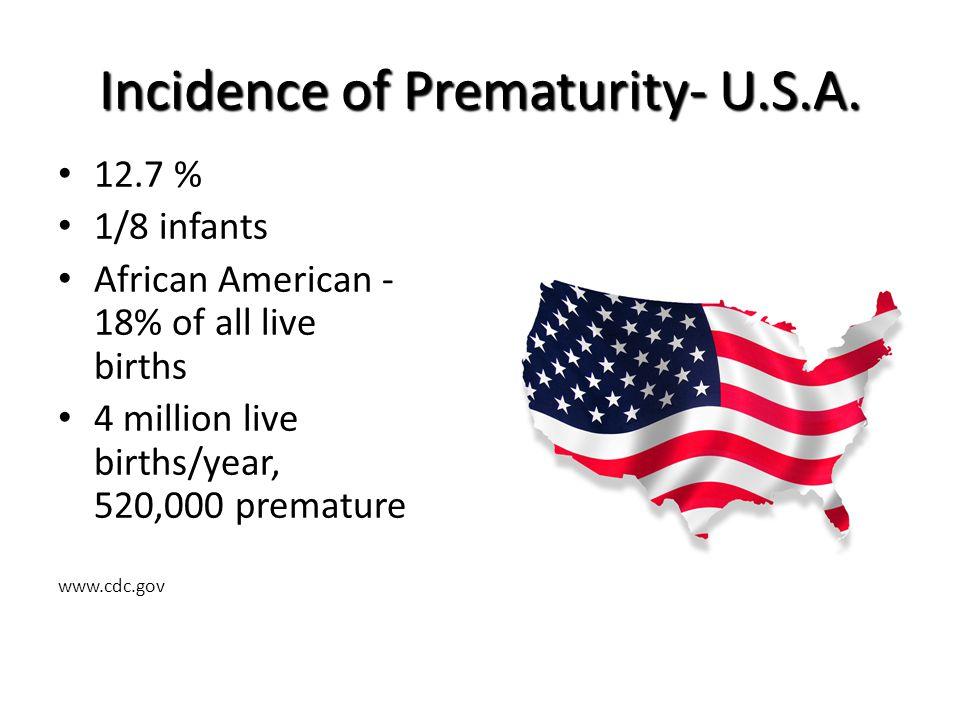 Incidence of Prematurity- U.S.A.
