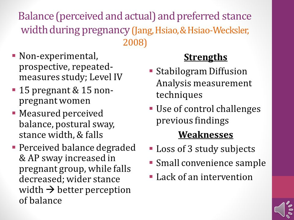 Balance (perceived and actual) and preferred stance width during pregnancy (Jang, Hsiao, & Hsiao-Wecksler, 2008)