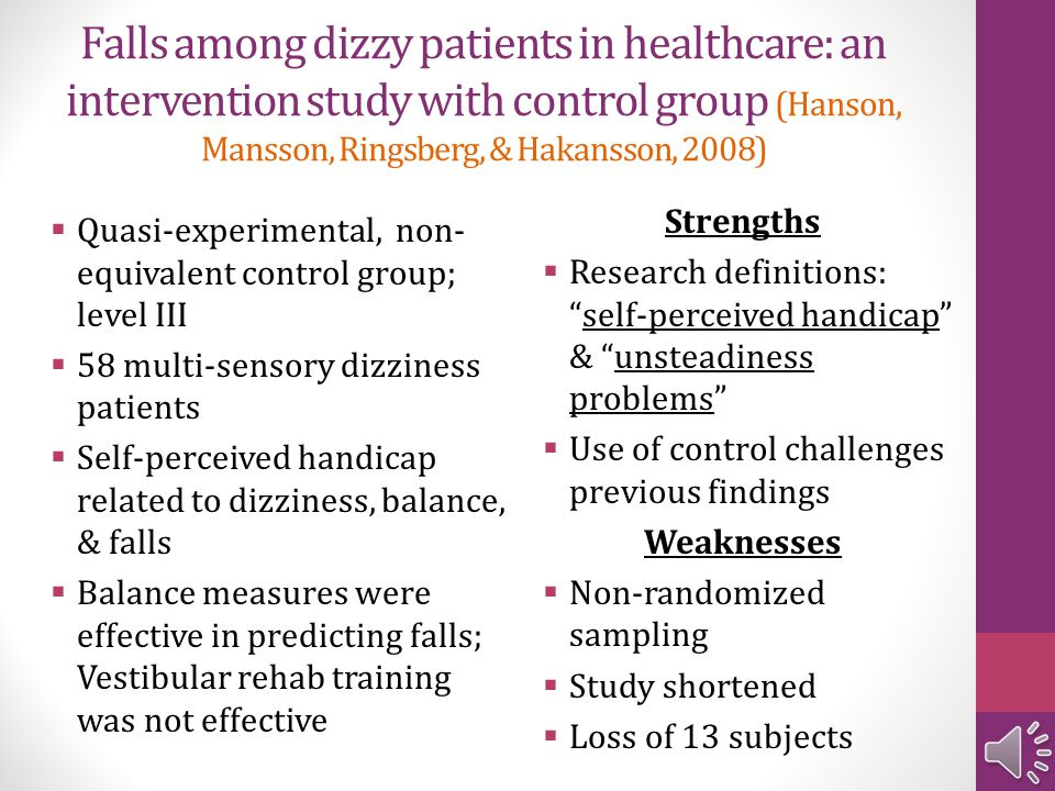 Falls among dizzy patients in healthcare: an intervention study with control group (Hanson, Mansson, Ringsberg, & Hakansson, 2008)