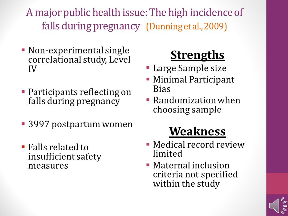 A major public health issue: The high incidence of falls during pregnancy (Dunning et al., 2009)