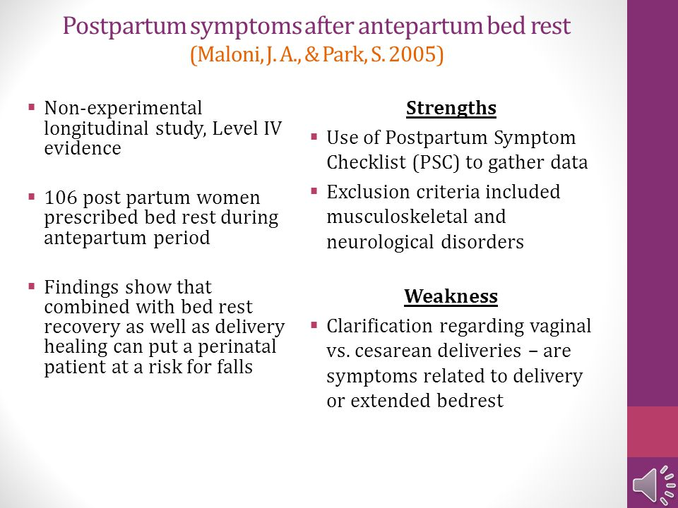 Postpartum symptoms after antepartum bed rest (Maloni, J. A