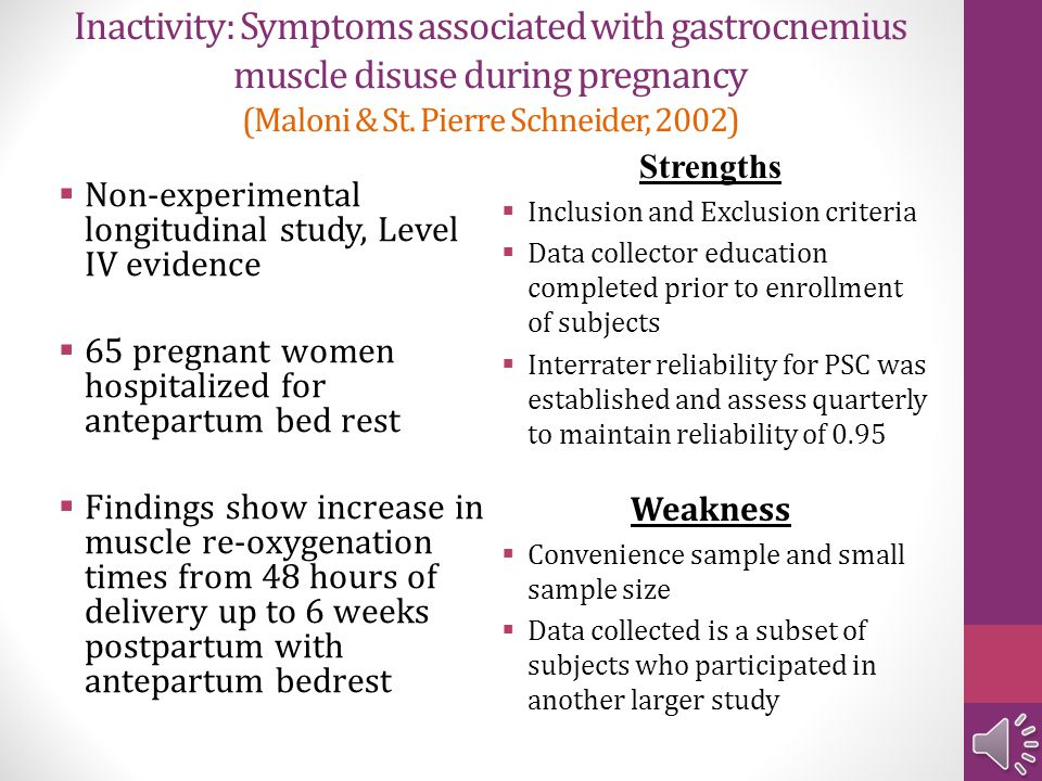 Inactivity: Symptoms associated with gastrocnemius muscle disuse during pregnancy (Maloni & St. Pierre Schneider, 2002)