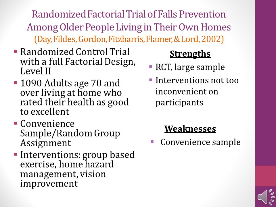 Randomized Factorial Trial of Falls Prevention Among Older People Living in Their Own Homes (Day, Fildes, Gordon, Fitzharris, Flamer, & Lord, 2002)