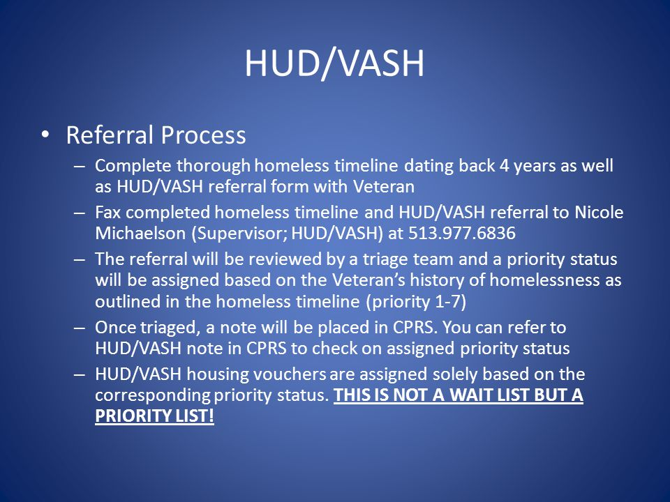 HUD/VASH Referral Process