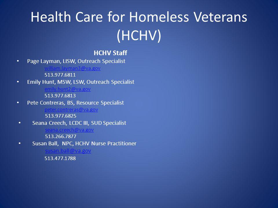Health Care for Homeless Veterans (HCHV)