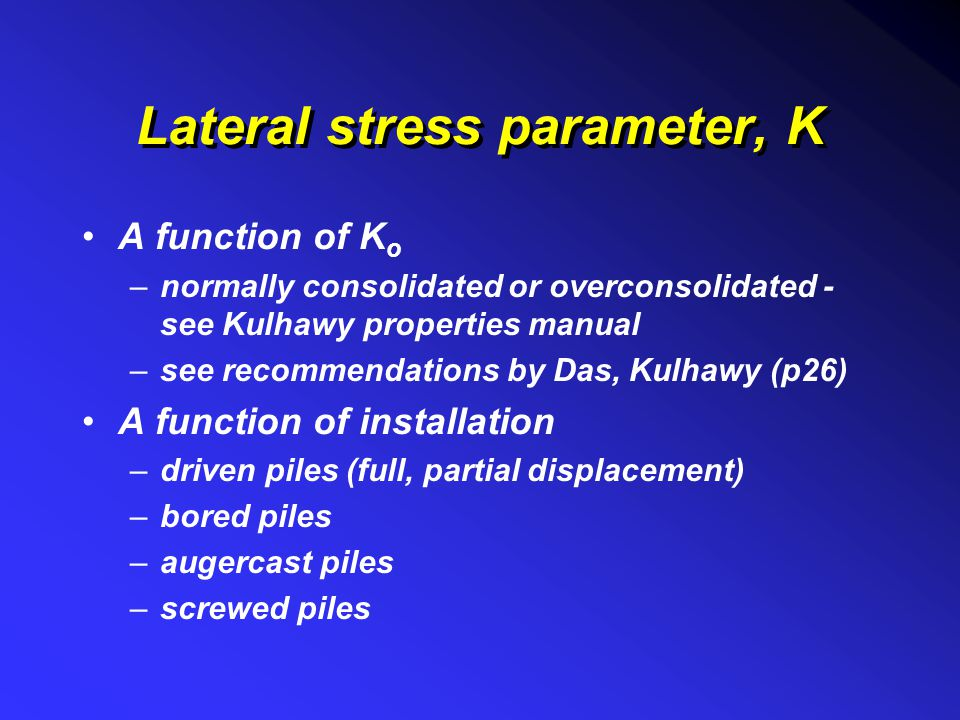 Lateral stress parameter, K