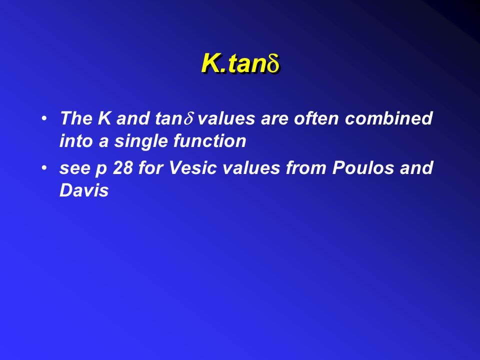 K.tand The K and tand values are often combined into a single function