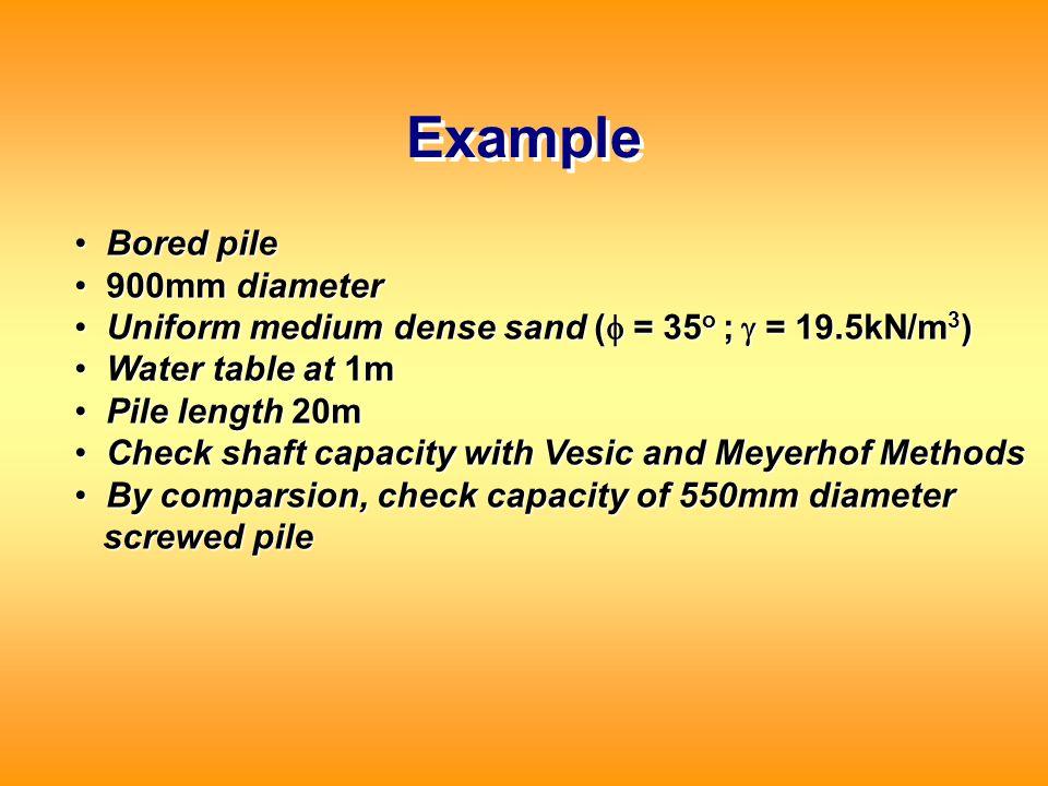 Example Bored pile 900mm diameter
