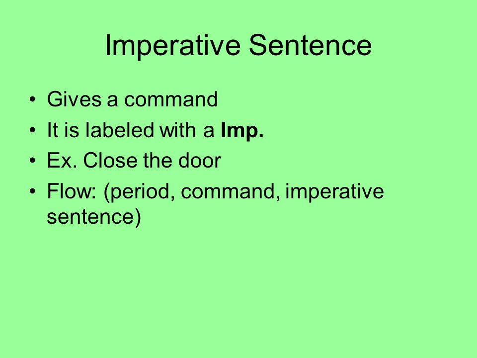 Imperative Sentence Gives a command It is labeled with a Imp.