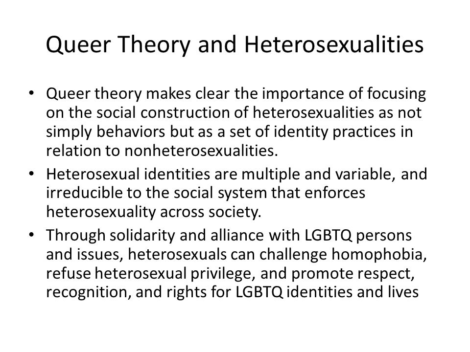 Queer Theory and Heterosexualities
