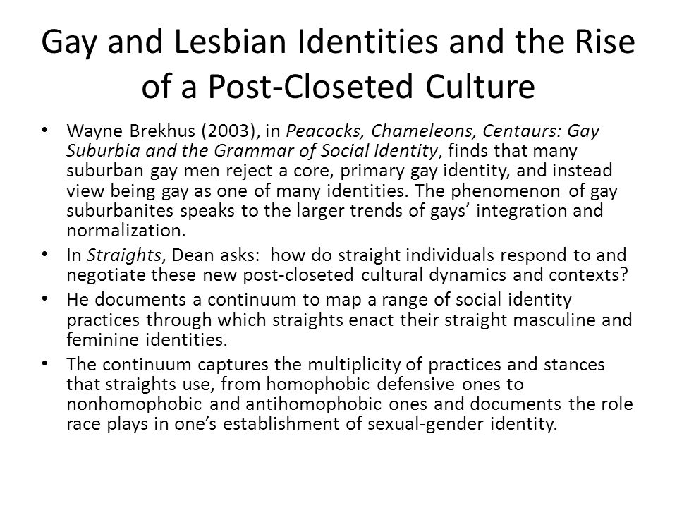 Gay and Lesbian Identities and the Rise of a Post-Closeted Culture