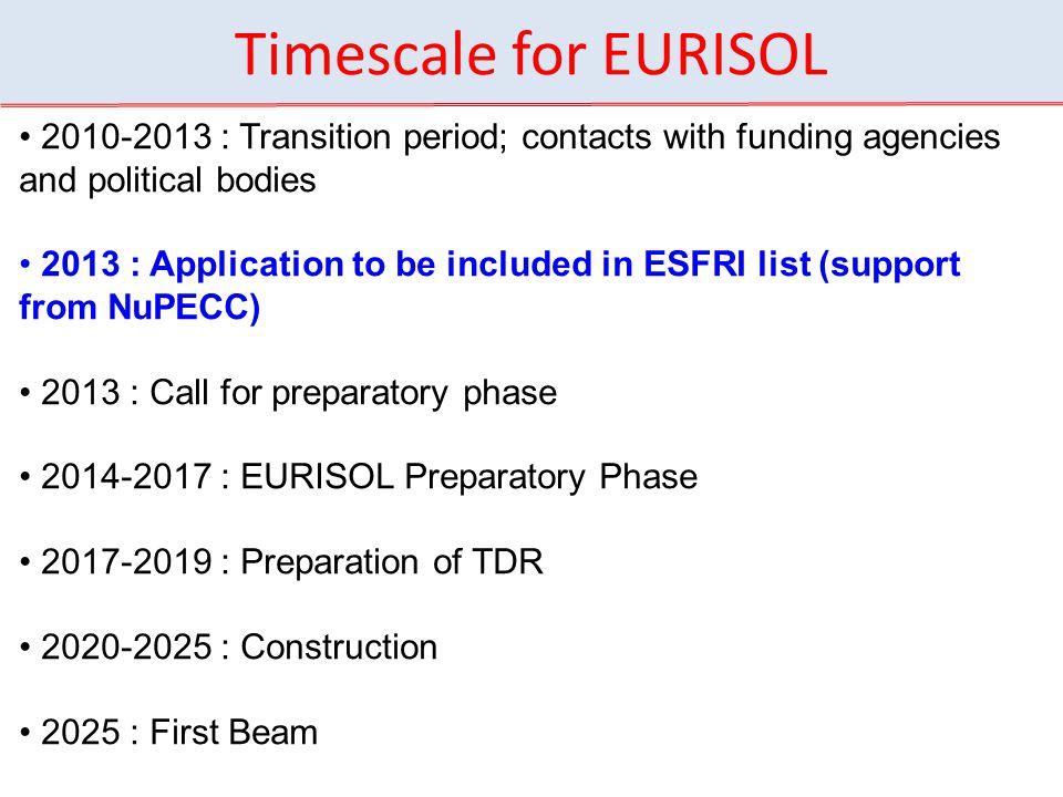 Timescale for EURISOL 2010-2013 : Transition period; contacts with funding agencies and political bodies.