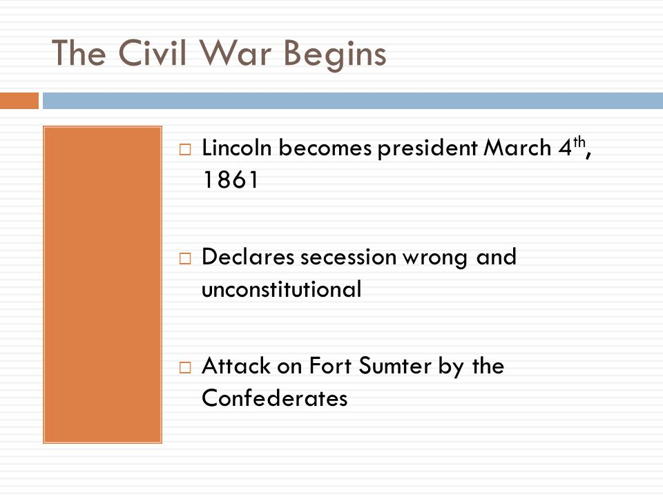 The Civil War Begins Lincoln becomes president March 4th, 1861