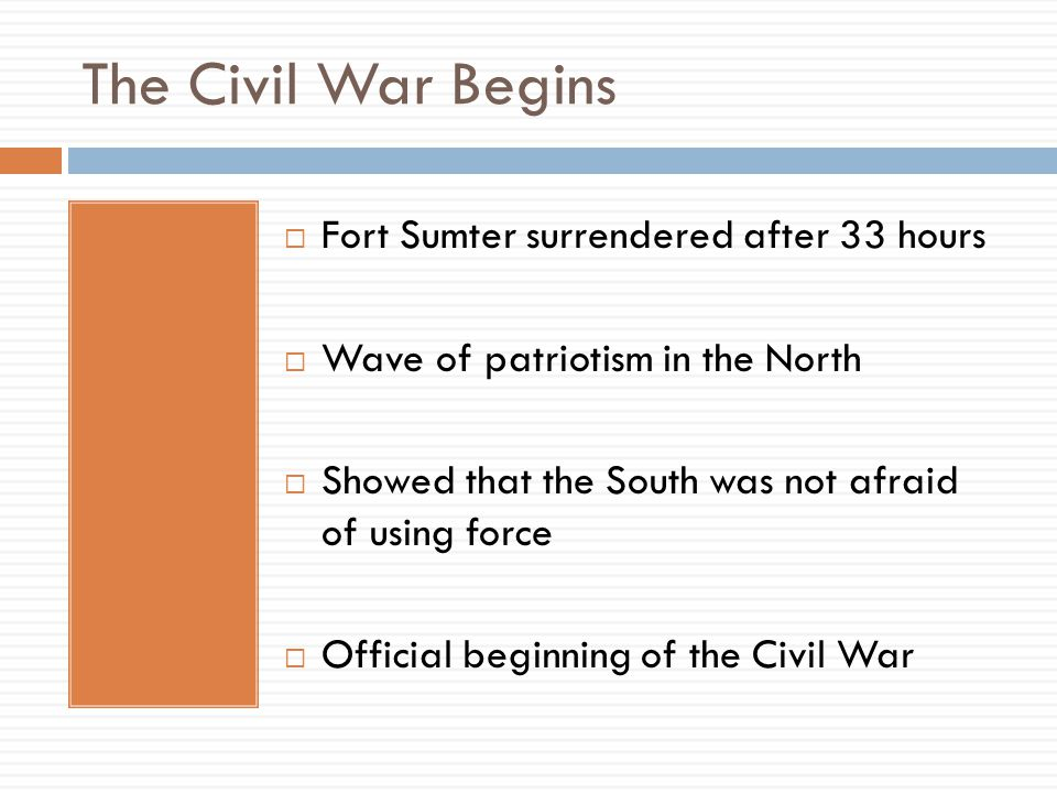 The Civil War Begins Fort Sumter surrendered after 33 hours