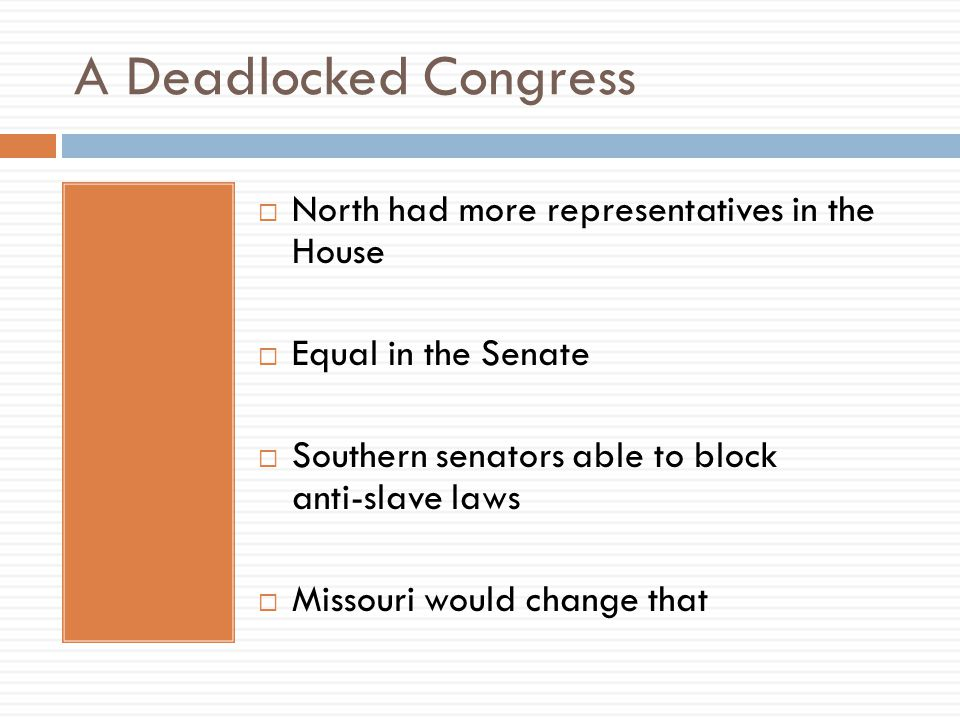 A Deadlocked Congress North had more representatives in the House
