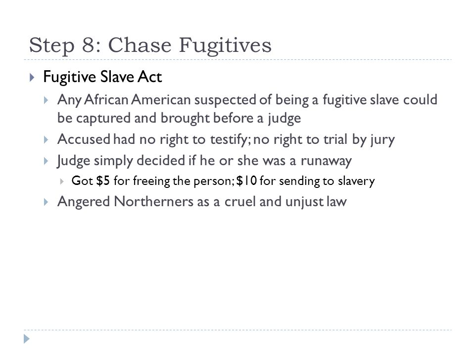 Step 8: Chase Fugitives Fugitive Slave Act
