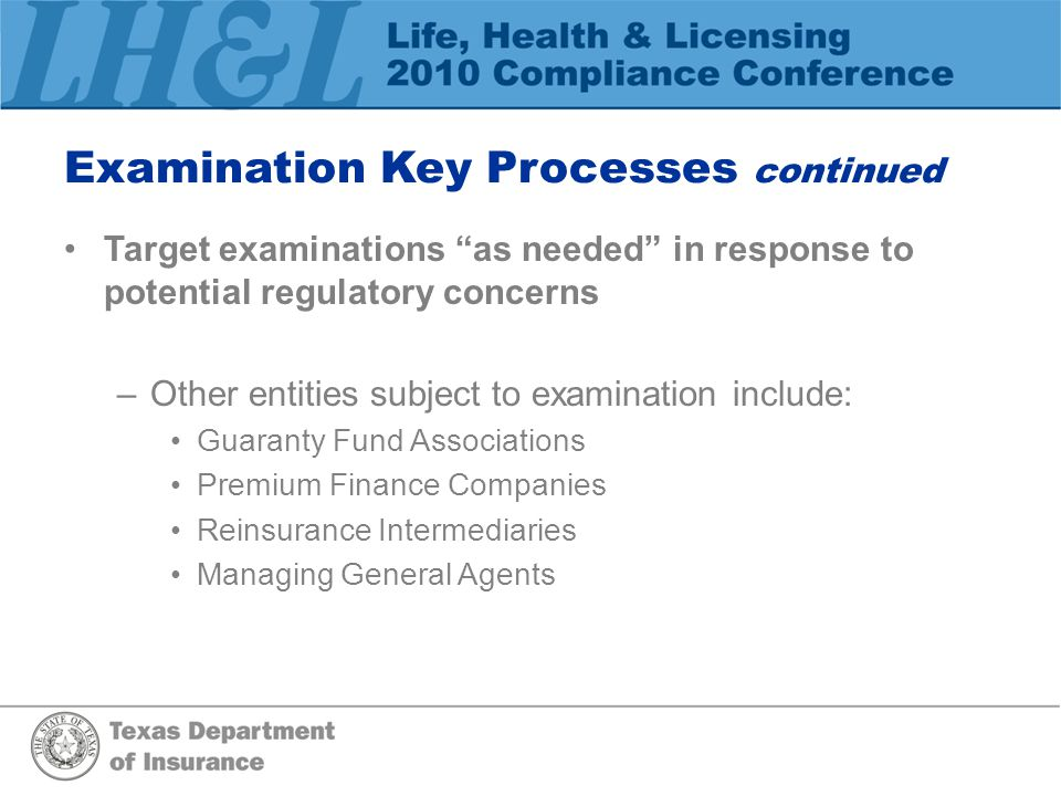 Examination Key Processes continued