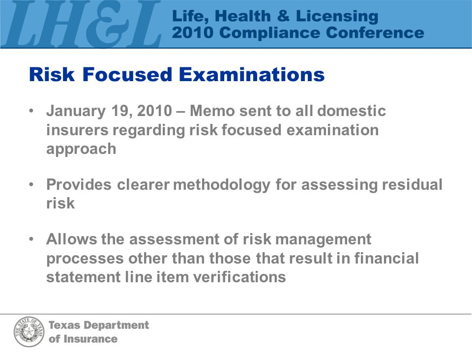Risk Focused Examinations