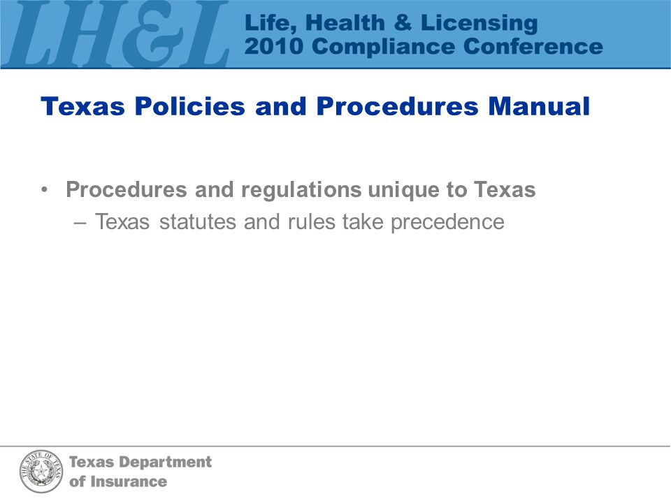 Texas Policies and Procedures Manual